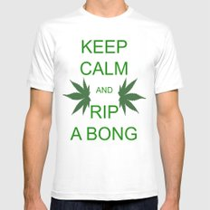 Keep Calm and Rip a Bong Mens Fitted Tee White SMALL