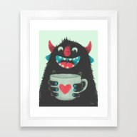 Demon With A Cup Of Coff… Framed Art Print