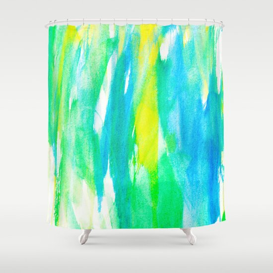 Artistic Neon Turquoise Yellow Teal Watercolor Shower Curtain By Girly Road Society6