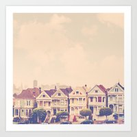 Darling do come see us! San Francisco Painted Ladies photograph Art Print
