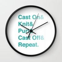 Knitting - Helvetica Amp… Wall Clock