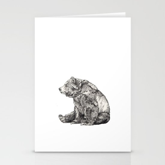 Bear // Graphite Stationery Card