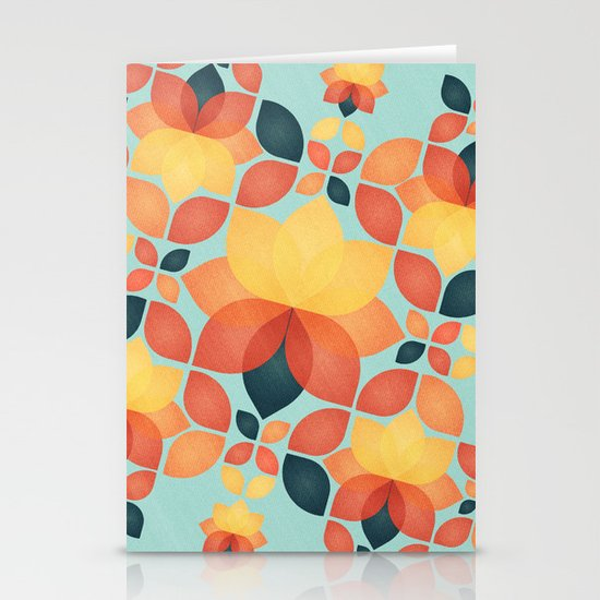 Orange Garden Pattern Stationery Card