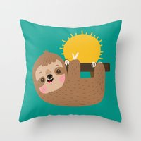 Happy Sloth Throw Pillow