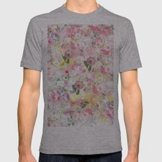 Pink Elegant Watercolor … Mens Fitted Tee Athletic Grey SMALL