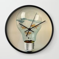 Wall Clock featuring Ideas And Goldfish 03 by Vin Zzep