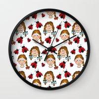 Girls and ladybirds pattern Wall Clock