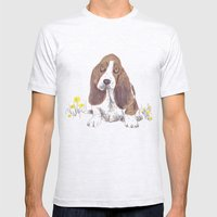 Basset Hound Mens Fitted Tee Ash Grey SMALL