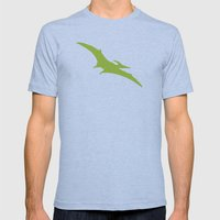 Pterodactyl Dinosaur Green Mens Fitted Tee Athletic Blue SMALL
