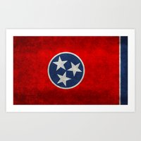 Tennessee State flag, Vintage version Art Print