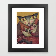 Little orphaned rat adopted by Mother Cat Framed Art Print