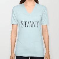 Savant - black on white version Unisex V-Neck