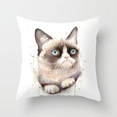 Grumpy Watercolor Cat Throw Pillow