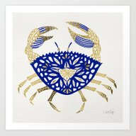 Crab – Navy & Gold Art Print