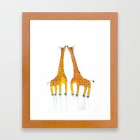 Unicorn Giraffes  Framed Art Print