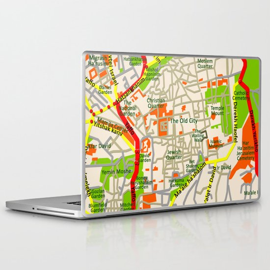 Jerusalem map design Laptop & iPad Skin