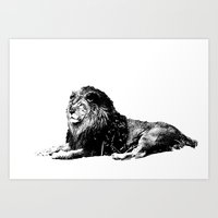 Lion Pen Strokes Art Print