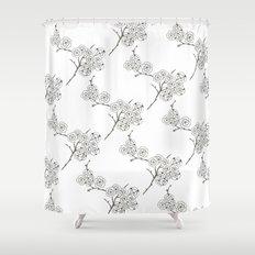 Japanese Trees ( Japan, Asia, Black-White, Delicate, Elegant print ) Shower Curtain