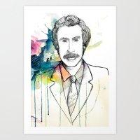 Ron Burgundy, Anchorman of Legend Art Print