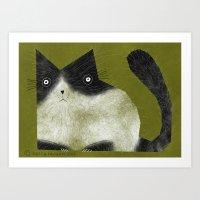 BRISTLE CAT Art Print