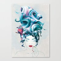A girl with aqua hair Canvas Print
