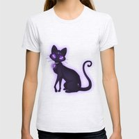 Purple Eyed Cat Womens Fitted Tee Ash Grey SMALL