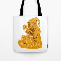 Witch Stirring Brew Pot Drawing Tote Bag