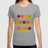 Flower Patch Womens Fitted Tee Tri-Grey SMALL