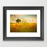 Poppies With Tree In The… Framed Art Print