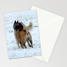 Dogs playing in the snow Stationery Cards