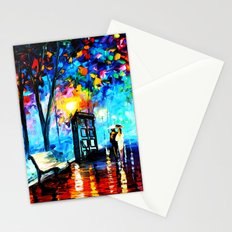 tardis in the rain Stationery Cards