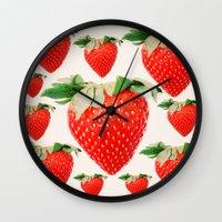 strawberry explosion Wall Clock