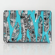 geo feathers turquoise blue iPad Case