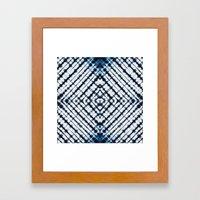 Diamonds Indigo Framed Art Print