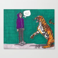 Fighting A Tiger Before … Canvas Print