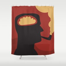 Enquire Within - Man, Brain, Thinking, Pipe, Retro, Silhouette Shower Curtain