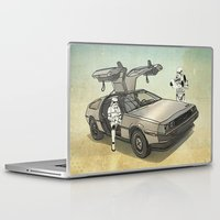 lost Laptop & iPad Skins featuring Lost, searching for the DeathStarr _ 2 Stormtrooopers in a DeLorean  by Vin Zzep