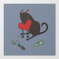 Black Dog Love Canvas Print