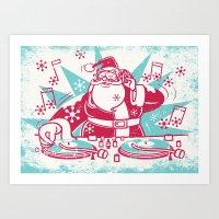 Funky Santa Art Print