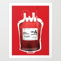 My Blood Type is A, for Awesome! *Classic* Art Print