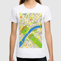 Paris map design Womens Fitted Tee Ash Grey SMALL
