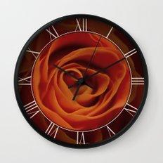 Orange rose closeup Wall Clock