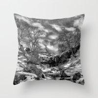 Waterfall Snowfall Throw Pillow