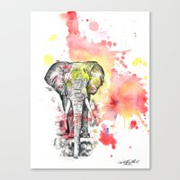 Elephant in a Splash of Color Painting Canvas Print