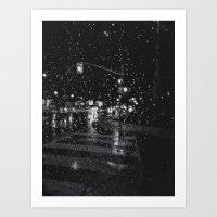 RAINY BOKEH B&W Art Print