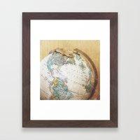 Globe-Trotting Gecko Framed Art Print