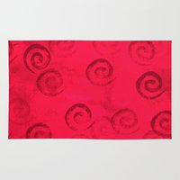 Festive Red Spirals Rug