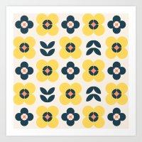 Vintage Geometric Flower… Art Print