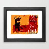 defeating the black monster Framed Art Print