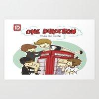 Take Me Home Cartoon One Direction Art Print